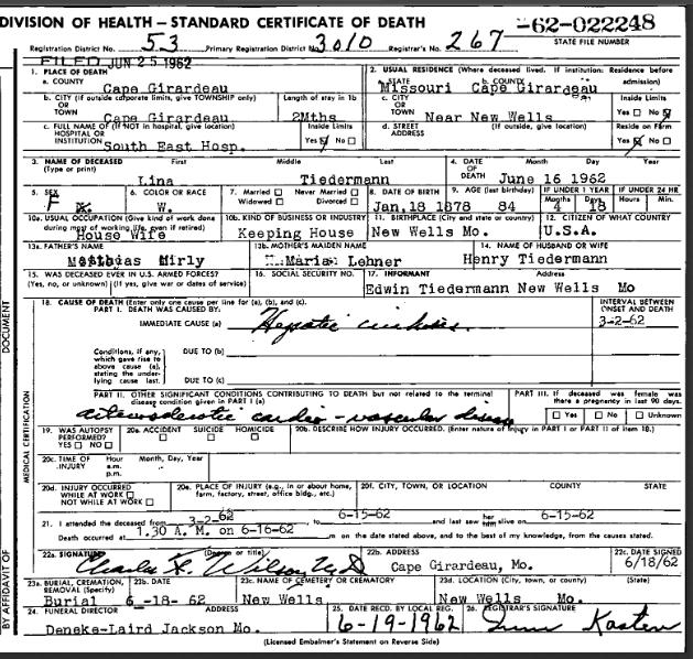 Lina Tiedemann death certificate