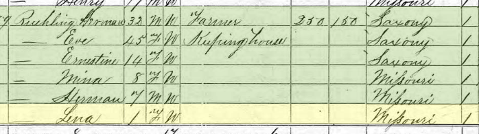 Magdalena Ruehling 1870 census Brazeau Township MO