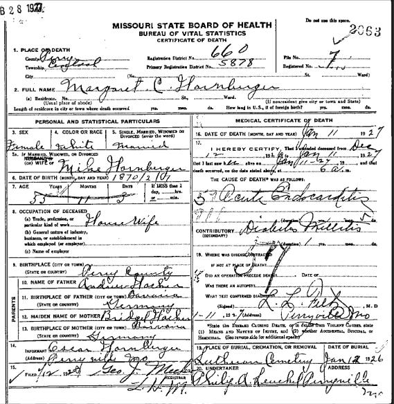 Margaret Hornberger death certificate