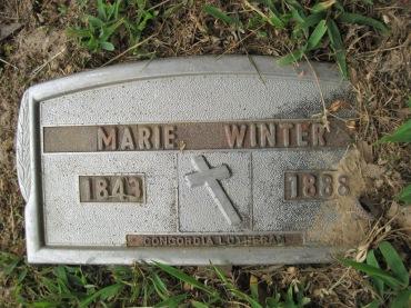 Marie Winter grave marker Concordia Frohna MO