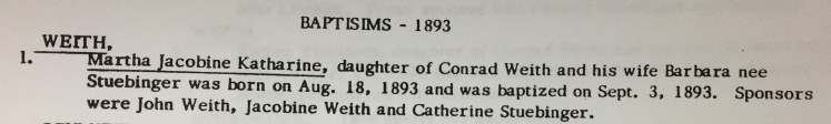 Martha Weith baptism record Cross Congregation Longtown MO