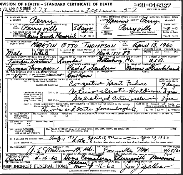 Martin Thompson death certificate