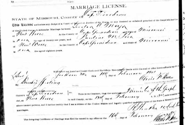Meyr Perr marriage license