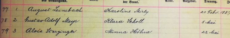 Meyr Scholl marriage record - Immanuel New Wells MO