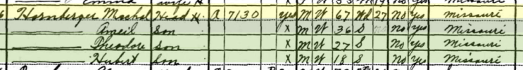 Michael Hornberger 1930 census Central Township