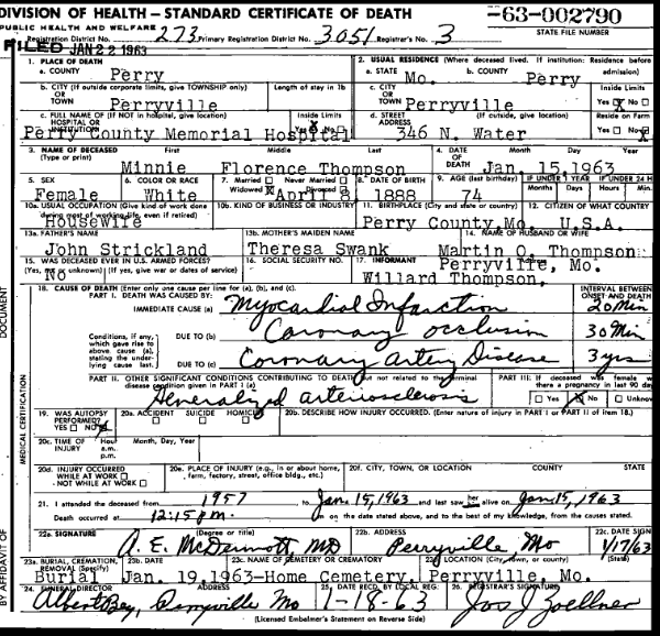 Minnie Thompson death certificate
