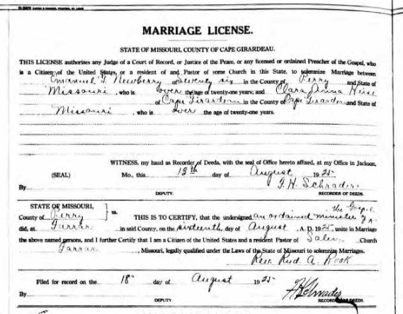 Newberry Heise marriage license
