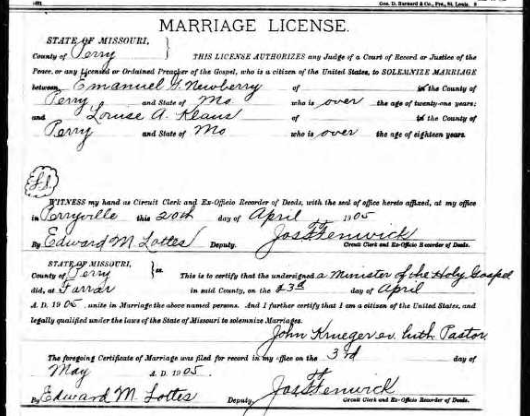 Newberry Klaus marriage license