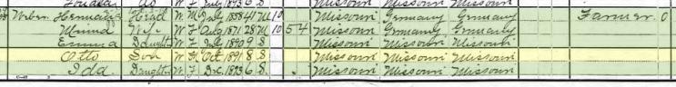 Otto Weber 1900 census Brazeau Township MO