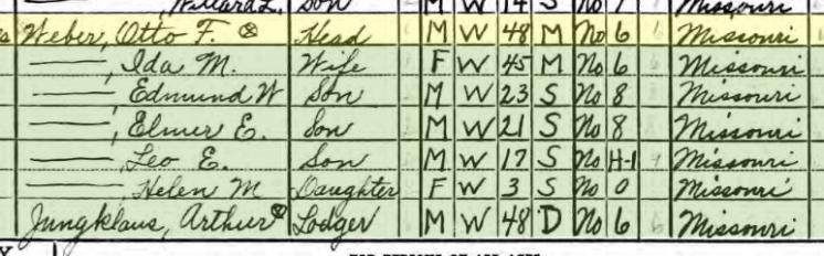 Otto Weber 1940 census Brazeau Township MO