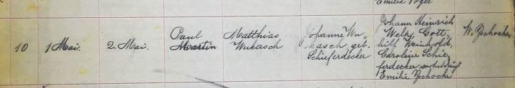Paul Wukasch baptism record Concordia Frohna MO