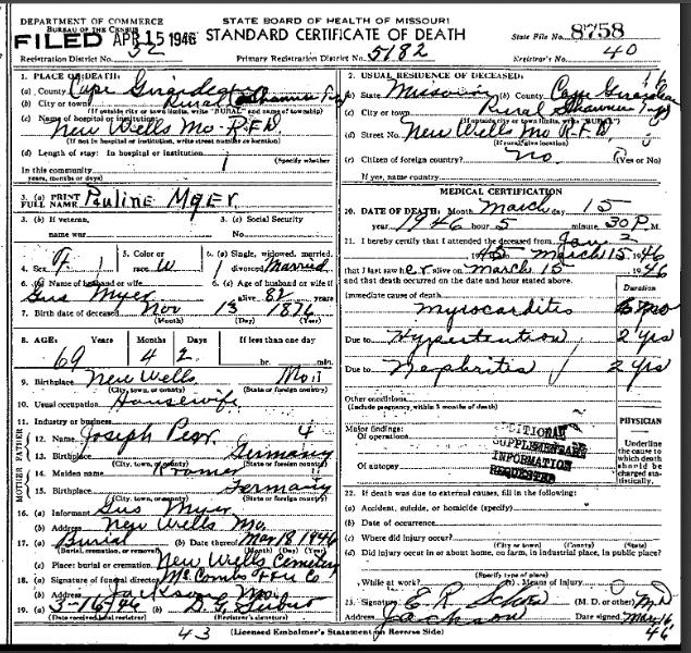 Pauline Meyr death certificate