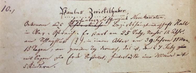Paulus Zwickelhuber death record Trinity Altenburg MO