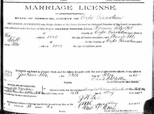 Petzold Scholl marraige license