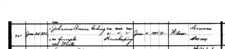 Rosine Goehring death record 1 Perry County MO