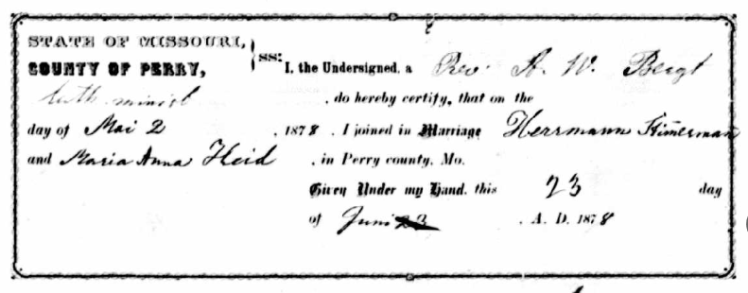 Stemmerman Heidt marriage record