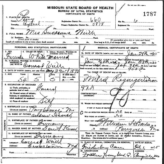 Susanna Weith death certificate