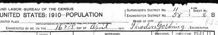 Theodore Goehring 1910 census signature