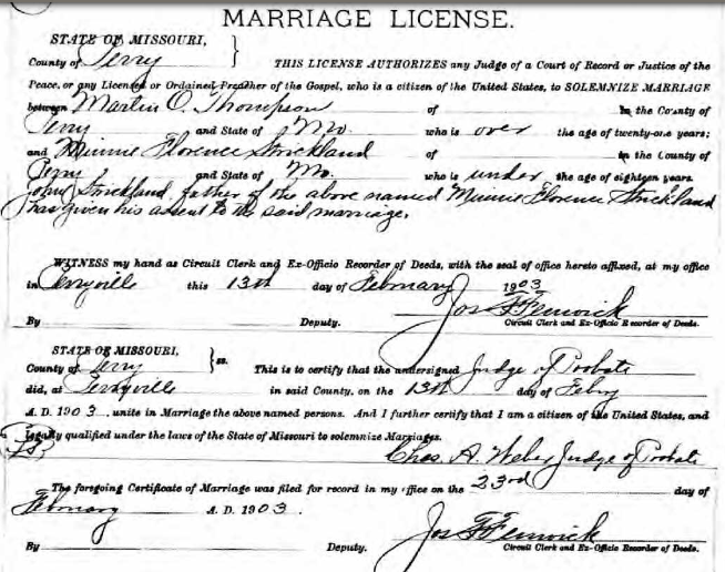 Thompson Strickland marriage license