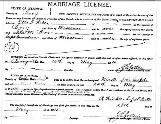 Weber Perr marriage license