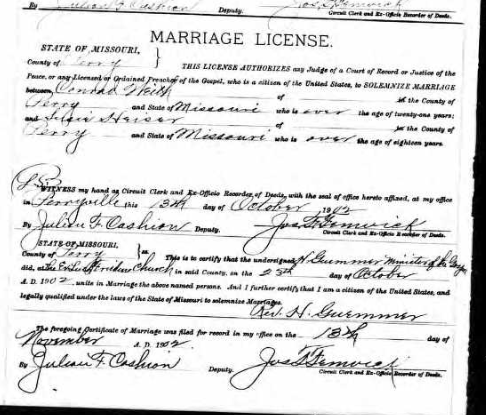 Weith Heise marriage license