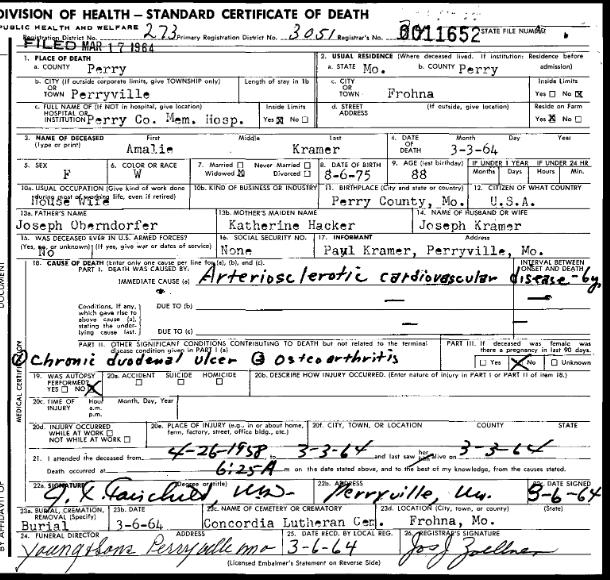 Amalia Kramer death certificate