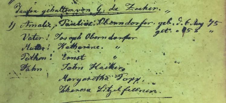 Amalia Oberndorfer baptism record Immanuel Altenburg MO