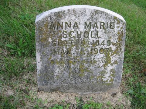 Anna Marie Scholl gravestone Immanuel New Wells MO