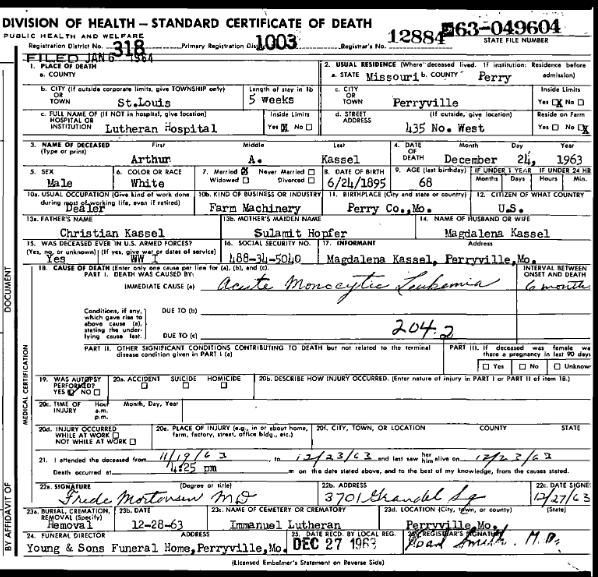 Arthur Kassel death certificate