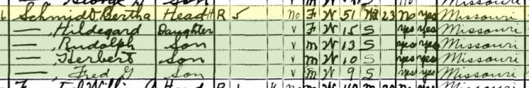 Bertha Schmidt 1930 census Brazeau Township MO