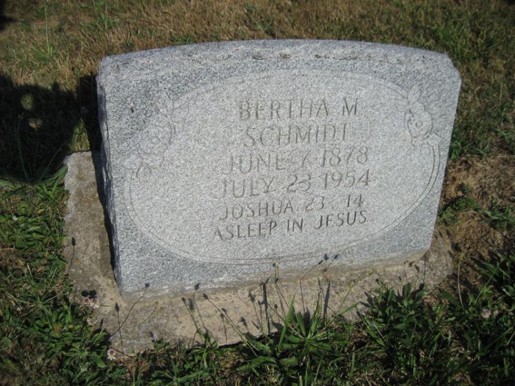 Bertha Schmidt gravestone Trinity Altenburg MO