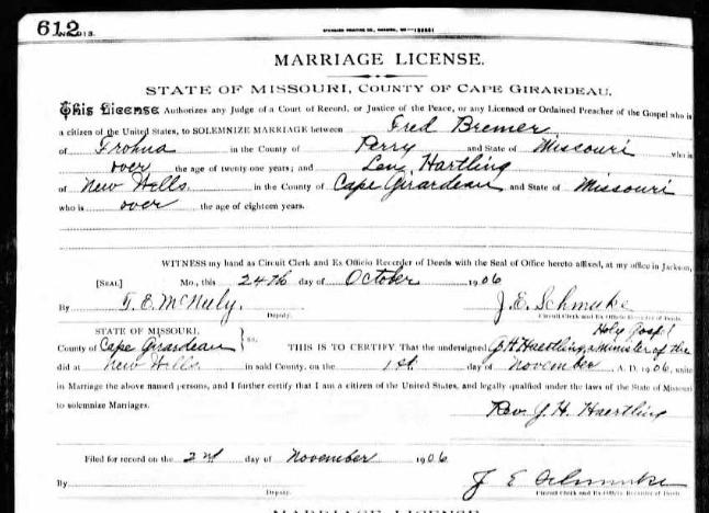 Bremer Haertling marriage license