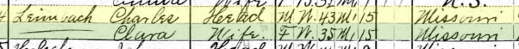 Charles Leimbach 1910 census Brazeau Township MO