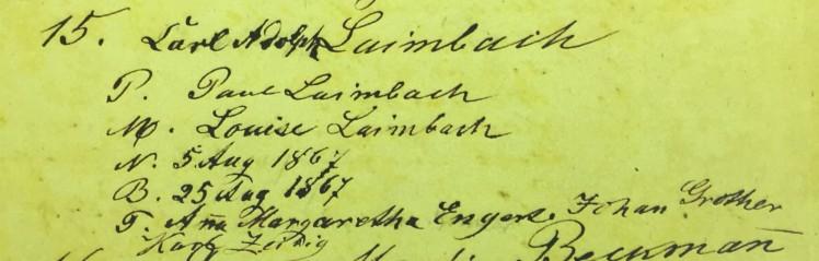 Charles Leimbach baptism record Immanuel Altenburg MO
