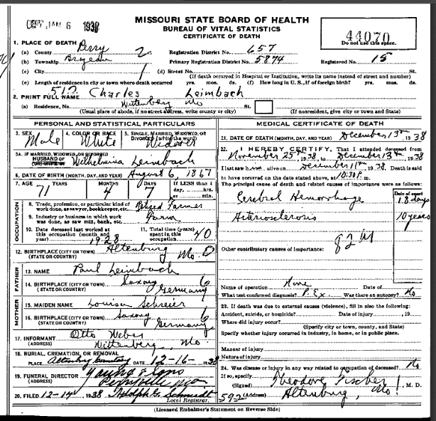 Charles Leimbach death certificate