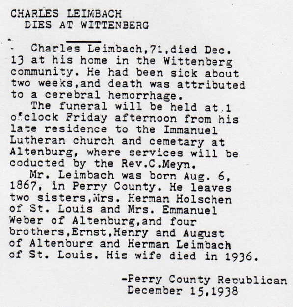 Charles Leimbach obituary