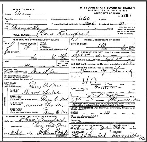 Clara Leimbach death certificate