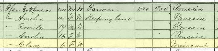 Clara Pfau 1870 census Union Township MO