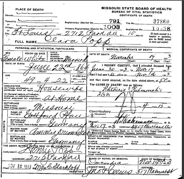 Clara Popp death certificate