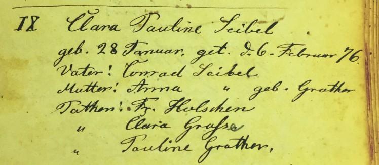 Clara Seibel baptism record Immanuel Altenburg MO