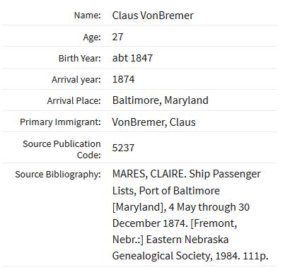 Claus von Bremer Baltimore passenger list 1874
