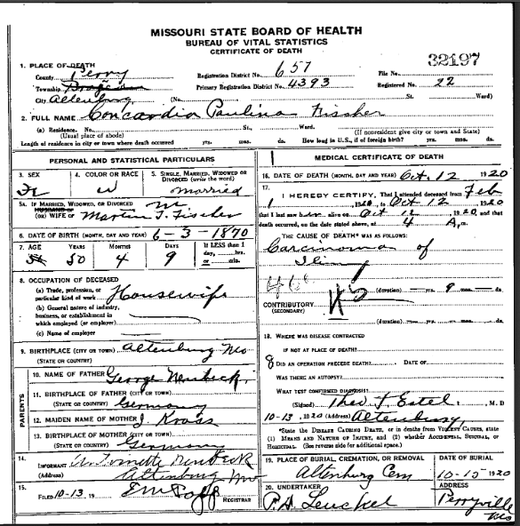 Concordia Fischer death certificate