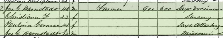Conrad Scholl 1860 census 2 Brazeau Township MO