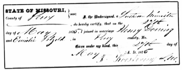 Doering Petzoldt marriage record Perry County