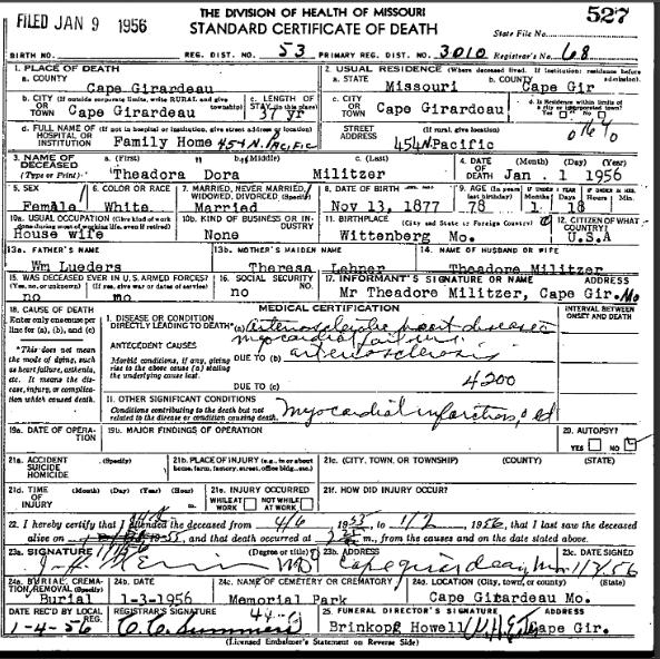 Dora Militzer death certificate