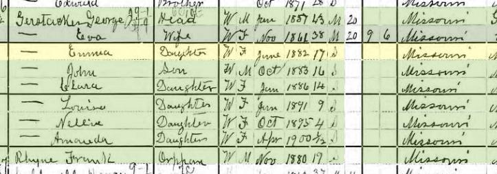 Emma Gerstacker 1900 census Bois Brule Township MO