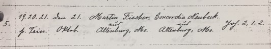 Fischer Neubeck marriage record Trinity Altenburg MO