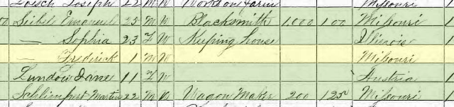 Frederick Seibel 1870 census Brazeau Township MO