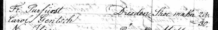 Fredrick Puerfurst Carrie Gentzsch Olbers passenger list 1839