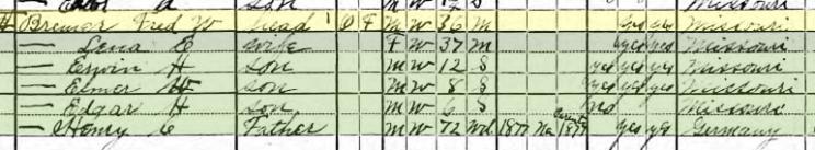 Friedrich Bremer 1920 census Brazeau Township MO